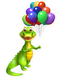Cute Aligator cartoon character  with balloon. 3d Rendered alligator cartoon character with balloon Royalty Free Stock Images