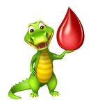 Cute Aligator cartoon character  with blood drop Stock Image
