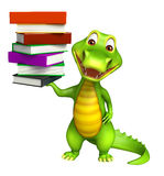 Cute Aligator cartoon character with book stack Stock Photo