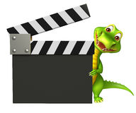 Cute Aligator cartoon character  with clapper board Royalty Free Stock Photo