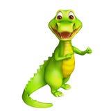 Cute Aligator cartoon character with clock Royalty Free Stock Image