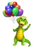 Cute Aligator cartoon character with clock Royalty Free Stock Photo