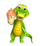 Cute Aligator cartoon character with clock Royalty Free Stock Images