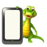 Cute Aligator cartoon character with clock Royalty Free Stock Photography