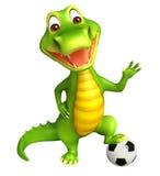 Cute Aligator cartoon character  with football Royalty Free Stock Photos