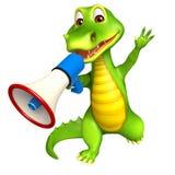 Cute Aligator cartoon character with loudspeaker Stock Photography