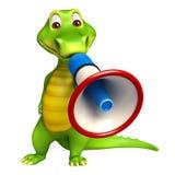 Cute Aligator cartoon character with loudspeaker Stock Images