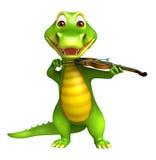 Cute Aligator cartoon character  with violin Royalty Free Stock Photo