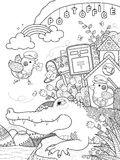 Cute alligator adult coloring page Stock Photos