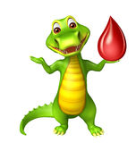 Cute Alligator cartoon character  with blood drop Stock Images