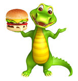 Cute Alligator cartoon character with burger. 3d Rendered alligator cartoon character with burger Royalty Free Stock Photo