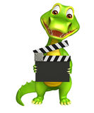 Cute Alligator cartoon character  with clapper board Royalty Free Stock Images