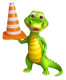 Cute Alligator cartoon character with construction cone Stock Images