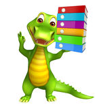 Cute Alligator cartoon character with files Royalty Free Stock Photos