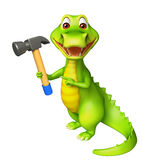 Cute Alligator cartoon character with hammer Royalty Free Stock Photography