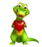 Cute Alligator cartoon character  with heart Royalty Free Stock Image