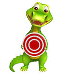 Cute Alligator cartoon character with target sign Stock Image