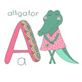 Cute alligator with closed eyes in pink dress Royalty Free Stock Image
