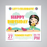 Cute aloha girl on the beach vector cartoon illustration for happy birthday card design. Postcard, and wallpaper vector illustration
