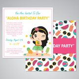 Cute aloha girl party vector cartoon illustration for birthday card design. Postcard, and wallpaper Stock Photos