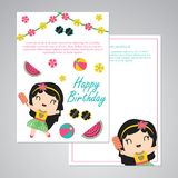 Cute aloha girl and summer elements vector cartoon illustration for happy birthday card design. Postcard, and wallpaper royalty free illustration