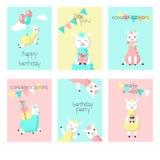 Alpaca birthday greeting cards vector illustration. Cute alpaca birthday greeting cards. Vector hand drawn illustration. Happy birthday card templates for kids stock illustration
