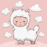 Cute alpaca with clouds on a pink background. Cute Cartoon alpaca with clouds on a pink background stock illustration