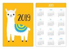 Cute alpaca llama standing. Simple pocket calendar layout 2019 new year. Week starts Sunday. Vertical orientation. Cartoon kawaii vector illustration