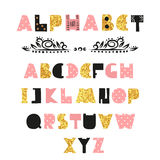 Cute Alphabet design. Hand drawn font. Royalty Free Stock Photography