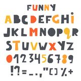 Cute alphabet, letters set for kids. Baby shower, nursery, children font with numbers and typographic signs. Symbols stock illustration