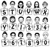 Cute Alphabet and numbers with hand drawn faces Royalty Free Stock Photo