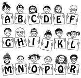 Cute Alphabet and numbers with hand drawn kids' faces Stock Photography