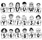 Cute Alphabet and numbers with hand drawn kids' faces Royalty Free Stock Photography