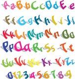 Cute alphabet with numerics Stock Image