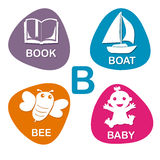 Cute alphabet in vector. B letter for Book, Boat, Bee and Baby. Royalty Free Stock Image
