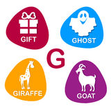 Cute alphabet in vector. G letter for Gift, Ghost, Giraffe and Goat. Stock Photography
