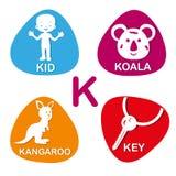 Cute alphabet in vector. K letter for kid, koala, kangaroo and key vector illustration