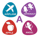 Cute alphabet in vector. A letter for Airplane, Astronaut, Apple, Angel. Royalty Free Stock Photography