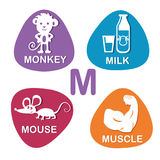 Cute alphabet in vector. M letter for monkey, milk, mouse and muscle. Alphabet design in a colorful style Stock Photo