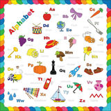 Cute alphabet in vector objects Royalty Free Stock Image