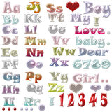 Cute alphabet on white Royalty Free Stock Images