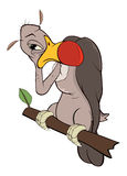 Cute American condor  illustration. Cartoon. The brown bird of prey sits on a branch Stock Image