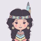 Cute American Indian girl in traditional costume royalty free illustration