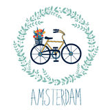 Cute Amsterdam card with tulips in bycicle basket Royalty Free Stock Image