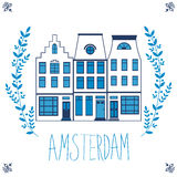 Cute Amsterdam houses colorful set Stock Image