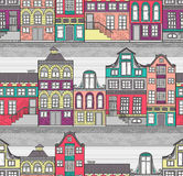 Cute Amsterdam houses seamless pattern Stock Photography