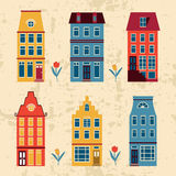 Cute Amsterdam houses set Royalty Free Stock Photos