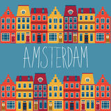 Cute Amsterdam houses set Stock Image