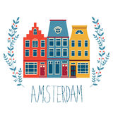 Cute Amsterdam houses set Royalty Free Stock Images