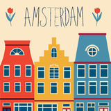 Cute Amsterdam houses set Stock Photos